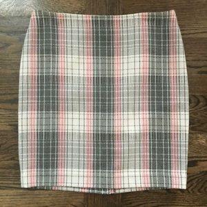 NWOT! Talbots Gray + Pink Plaid Wool Skirt